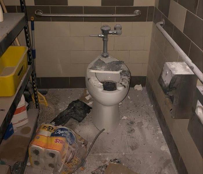 A restroom that caught on fire