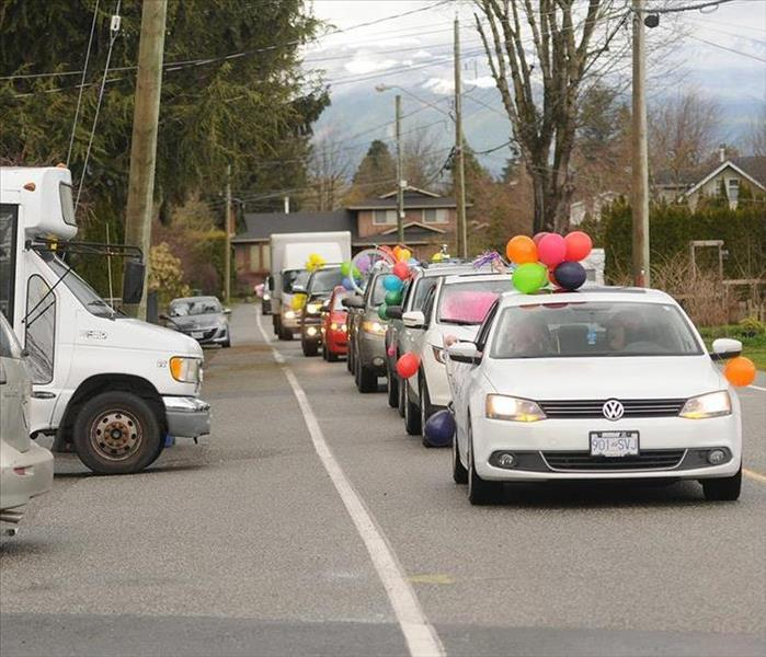 cars lined up to celebrate birthday