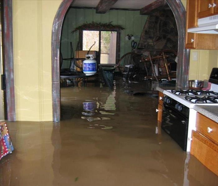A flooded kitchen after a large water loss.